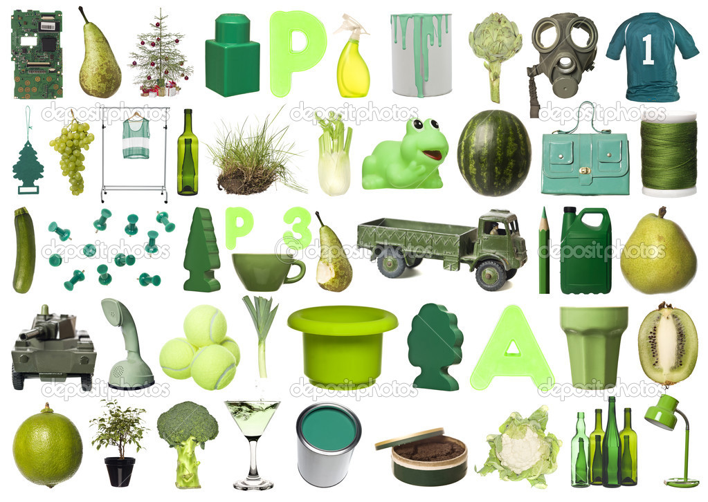 Large group of Green objects isolated on white background — Stock Photo #4775698