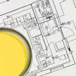 Yellow Paintcan and Blueprint - Stock Photo