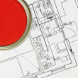 Royalty-Free Stock Photo: Red Paintcan and Blueprint