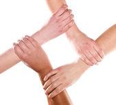 Mãos humanas abraçados — Foto Stock