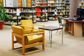 University library yellow chairs — Stock Photo