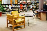 University library yellow chairs — Stock Photo