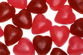 Bunch of jelly heart shape candy — Stock fotografie