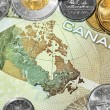 Map of Canada on money bill — Stock Photo