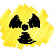 Doodle radioactivity symbol - Stock Photo