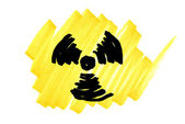 Doodle radioactivity symbol — Stock Photo