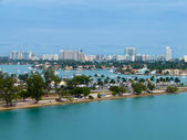 Eagle eye view of Miami port — Stock Photo