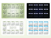 Four designs of calendar for 2011 (sun-sat) — Stockvector