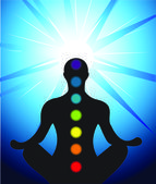 Male silhouette meditating with chakra — Vector de stock