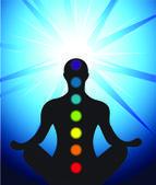 Manliga silhuett mediterar med chakra — Stockvektor