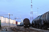 Oil tank cars in twilight — Stock Photo
