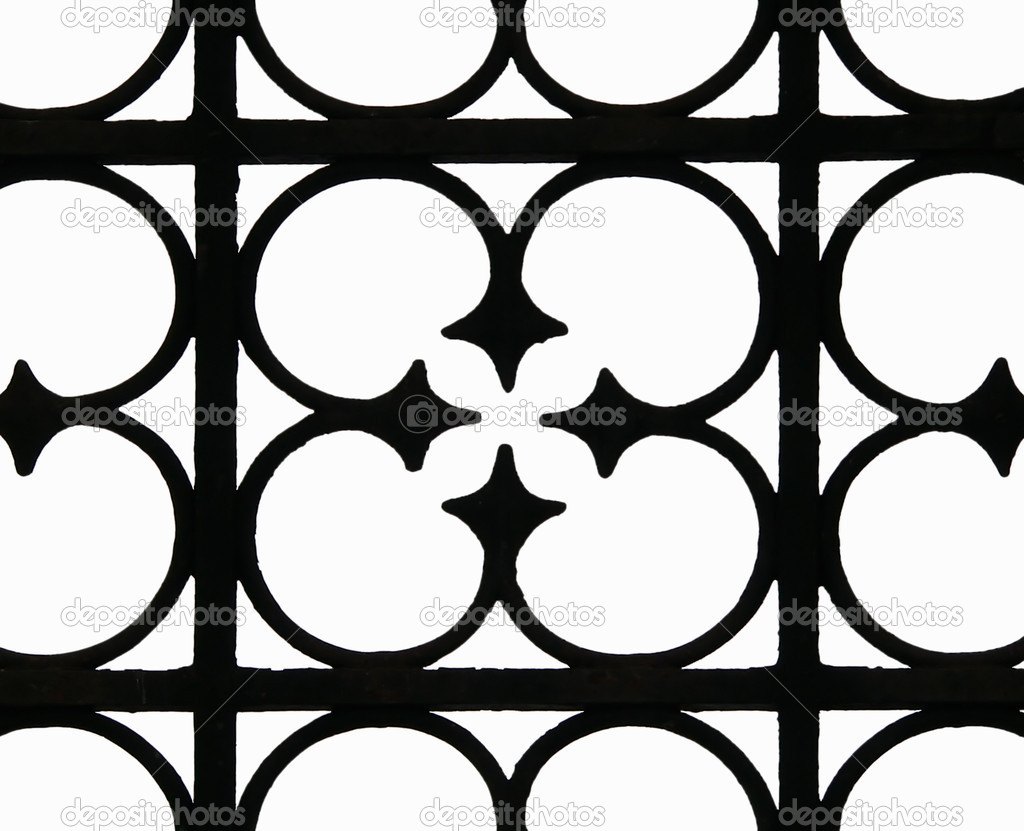 The fragment of the wrought-iron fence on a white background.  Stock Photo #4201770