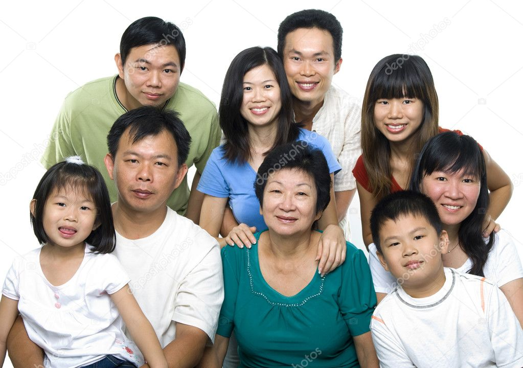 Asian family portrait on white background, 3 generations. — Stock Photo #4449708