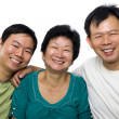 Senior mother and adult sons — Stock Photo
