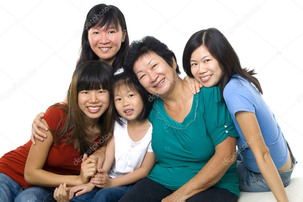 Asian women, 3 generations in white background — Stock Photo #4517685