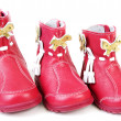 Red leather baby boots — Foto de Stock