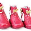 Red leather baby boots — Stok fotoğraf