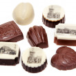 Stock Photo: Chocolate sweetmeats with type of Prague