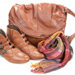 Brown leather bag, scarf and pair feminine boots — Stock Photo