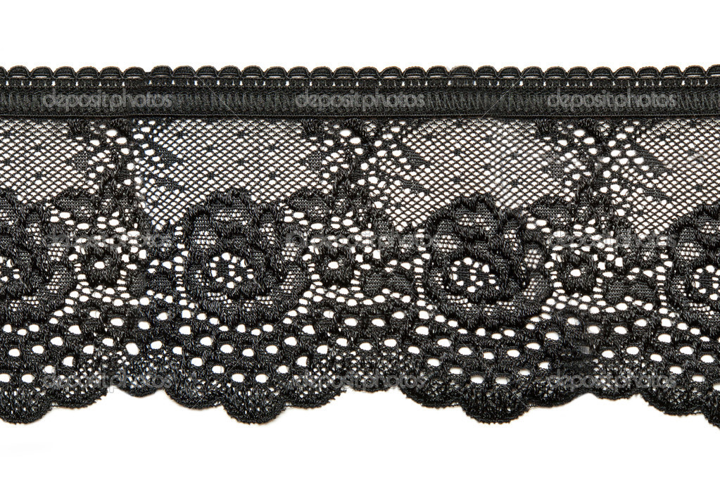 Black lace with pattern in the manner of flower on white background — Stock Photo #4128922