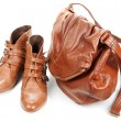 Brown leather bag and pair feminine boots - Stock Photo