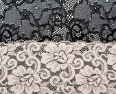 Black and beige lace with pattern flower — Stock Photo