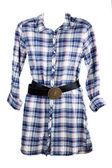 Feminine plaid shirt and leather belt — Stock Photo