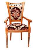 Bella sedia in legno con drappi costosi — Foto Stock