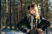 Young beautiful girl in black jacket — Stock Photo