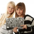Two beautiful girls read diary book — Stock Photo #4506651