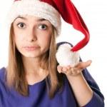 Beautiful girl in red Santa hat — Stock Photo