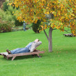 Stock Photo: Man, lying on lounger