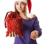 Beautiful girl in red Santa hat — Stock Photo #4571828