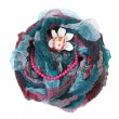 Varicoloured scarf is put with necklace around and flower — Stock Photo
