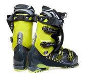 Pair green-dark ski shoe — Stock Photo