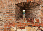 Loop-hole in the brick wall — Stock Photo