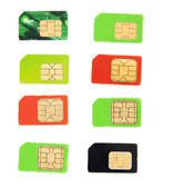Eight colorful sim card on a white background — Stock Photo