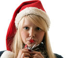A beautiful young blonde in a Santa — Stock Photo