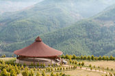 Arbor with a round roof mountains — Stock Photo