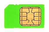 Green SIM card — Stock Photo