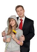 Dad with a teenage daughter — Fotografia Stock