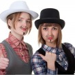Two girls with painted mustaches — Stock Photo #5039137