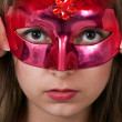 Girl in the red masquerade mask — Stock Photo