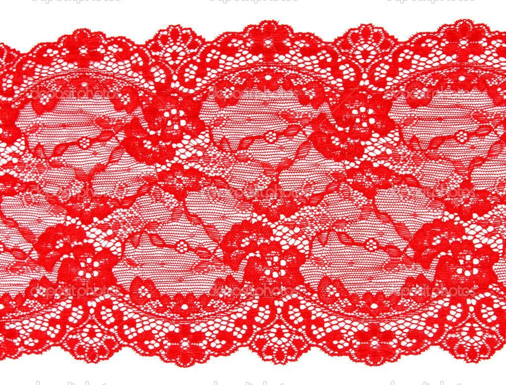 Red lace with pattern in the manner of flower on white background — Photo #5036050
