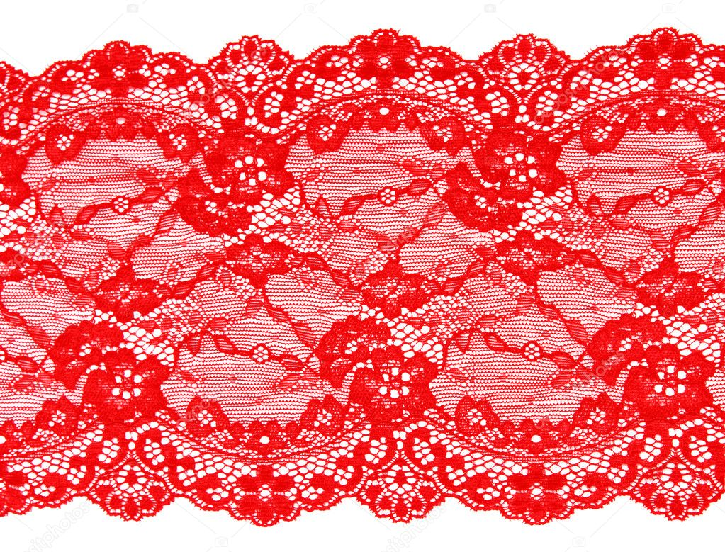 Red lace with pattern in the manner of flower on white background  Stok fotoraf #5036050