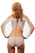 Naked girl with angel wings — Stock Photo