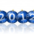 2012 new year illustration with christmas balls — Stock Photo