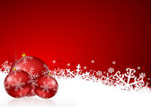 Red christmas background with snowflakes and christmas balls — Stock Photo