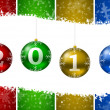 2011 new year illustration with christmas balls and snow flakes — Stock Photo