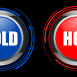 Stock Photo: Cold and hot glossy button set isolated over black